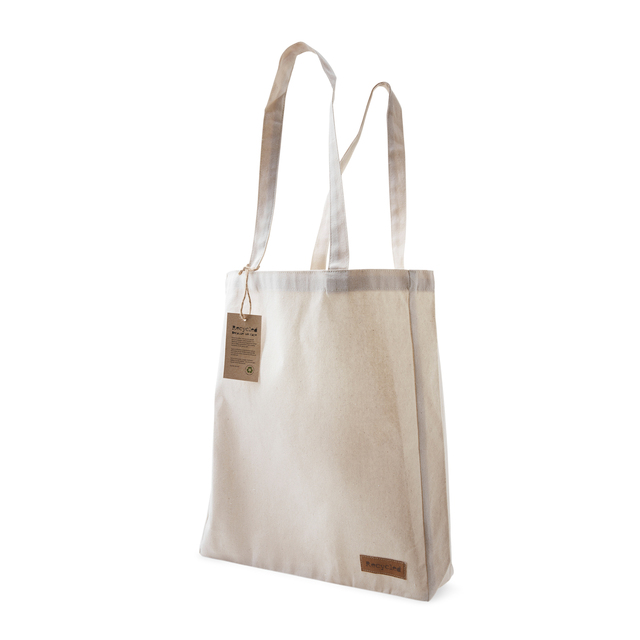 "This cotton bag is made of 250 gram recycled cotton. The bag features a sewn-on ""Recycle"" label on one side. A hanging tag, which is fastened with hemp string, tells about the background of the bag and informs what our CSR work stands for."