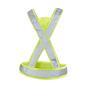 CE godkänd reflex i X-modell. Godkänd enligt EN 13356. Lämpar sig lika bra i löparsåret som för stadspromenaden. Reglerbar i sidorna med kardborrefäste för bästa komfort. Tryckyta i trianglarna fram och bak. Levereras i fodral